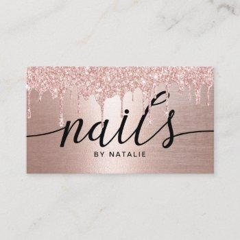 nail salon rose gold glitter drips typography business card