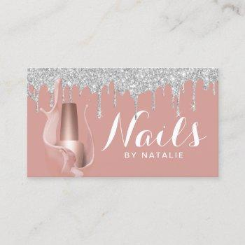nail salon silver drips rose gold manicurist business card