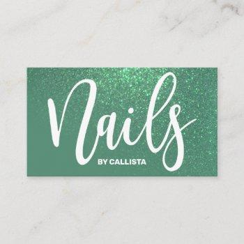 nail technician mermaid teal glitter typography business card