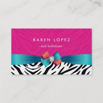 nail technician - trendy pink zebra print business card