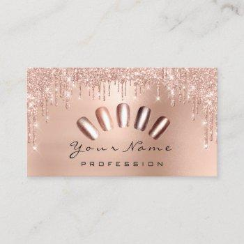 nails art glitter skinny pink rose manicure drips business card