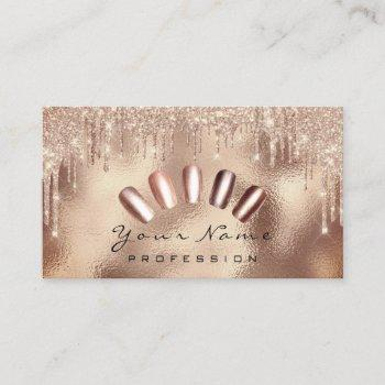 nails art glitter skinny rose gold  manicure drips business card
