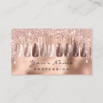 nails art glitter skinny rose gold  manicure spark business card