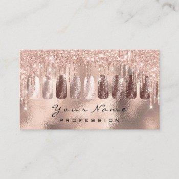 nails art glitter skinny rose gold  manicure spark business card