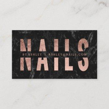 nails cut out rose gold typography black marble business card