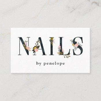 nails | gold blush black floral typography business card