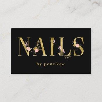 nails | gold floral typography on black business card