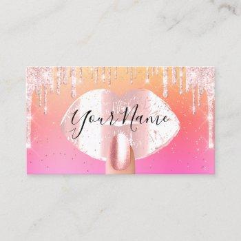 nails makeup artist rose drips kiss lips pink wax business card