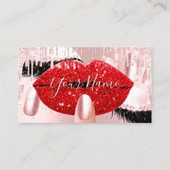 nails makeup artist rose red kiss lips pink lash business card