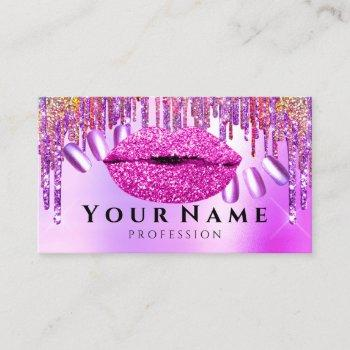 nails salon manicure drips holograph lips pink business card