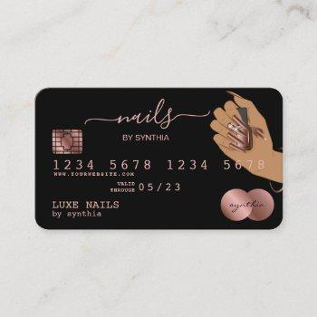 nails technician credit card styled rose gold drip