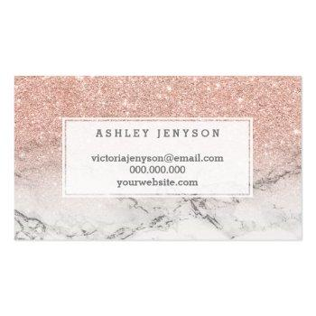 Small Nails Typography Rose Gold Glitter Marble Business Card Back View