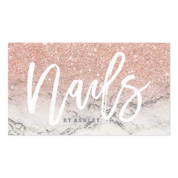 Small Nails Typography Rose Gold Glitter Marble Business Card Front View