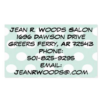 Small Natural Beauty Cosmetologist/stylistbusiness Cards Back View