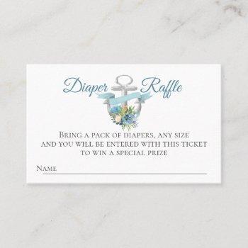 nautical anchor diaper raffle baby shower business card