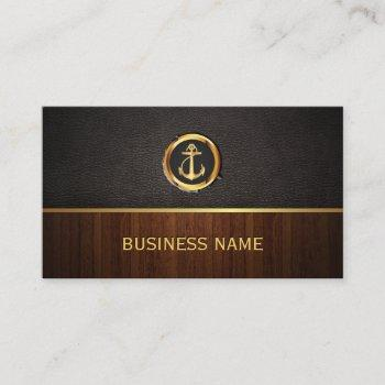 nautical gold anchor wood & leather business card