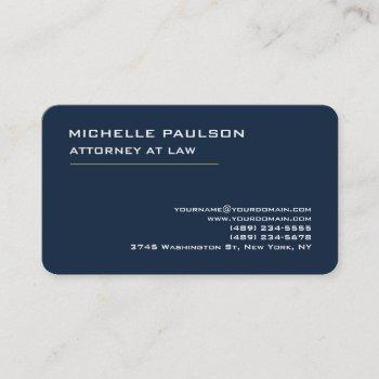 navy blue elegant plain professional modern business card