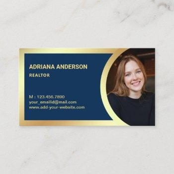 navy blue gold foil real estate photo realtor business card