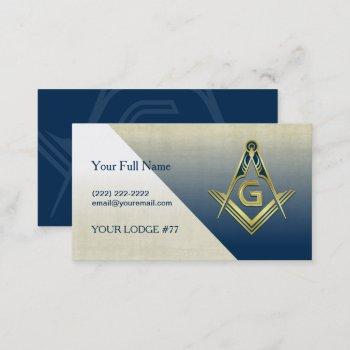 navy blue gold masonic business card template