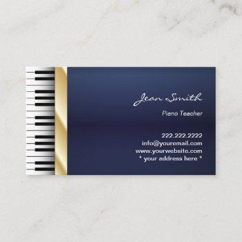 navy blue gold stripe music piano teacher business card