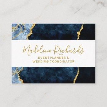 navy blue & gold watercolor marble agate gilded business card
