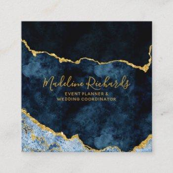 navy blue & gold watercolor marble agate gilded square business card