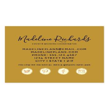 Small Navy Blue & Gold Watercolor Marble Agate Gilded Square Business Card Back View