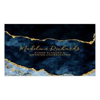 Small Navy Blue & Gold Watercolor Marble Agate Gilded Square Business Card Front View