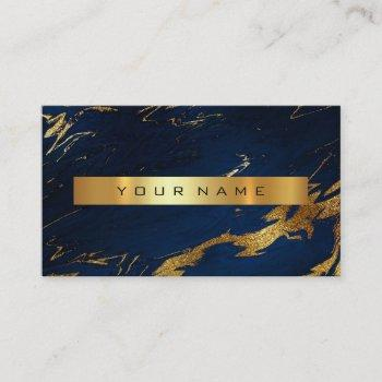 navy blue grungy gold marble vip business card