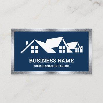 navy blue house roofing construction roofer business card