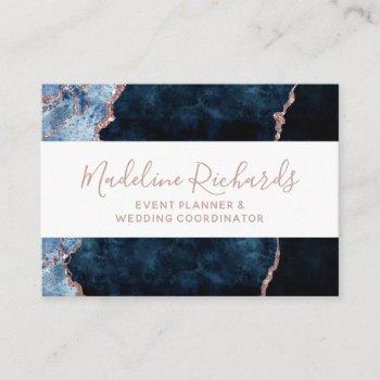 navy blue rose gold watercolor marble agate gilded business card