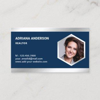 navy blue steel silver real estate photo realtor business card
