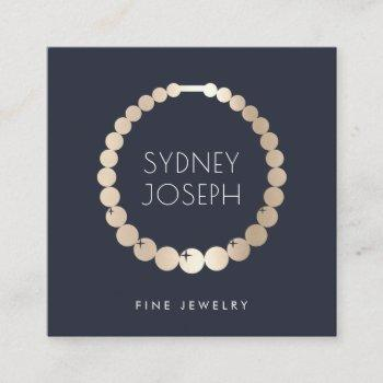 navy & gold necklace logo | jewelry design square business card