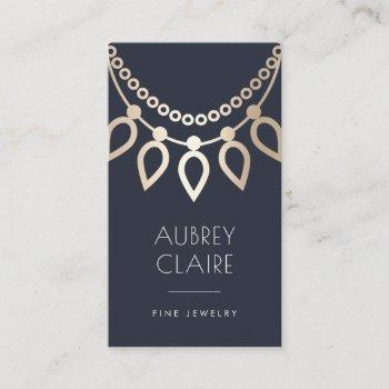 navy & gold necklace logo | jewelry designer business card
