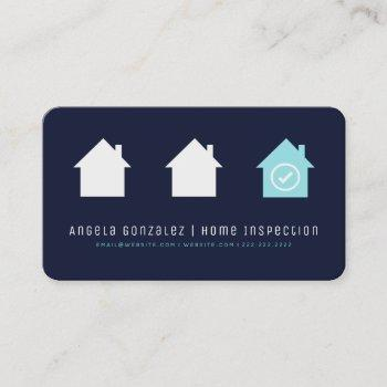navy simple modern chic house inspection business card