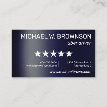 navy uber minimal driver business card