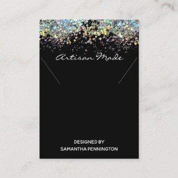 necklace display faux rainbow metalitic glitter business card