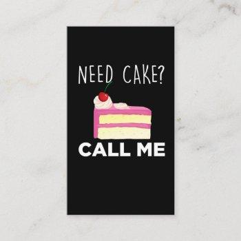 need cake call me pastry funny bakery humor business card
