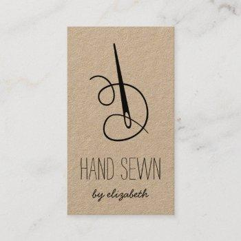 needle & thread | rustic kraft vertical business card