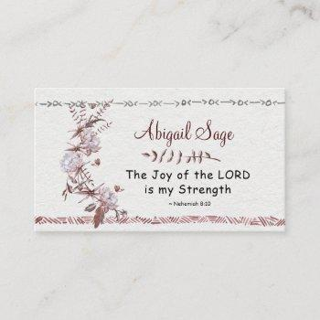 nehemiah 8:10 the joy of the lord is my strength business card