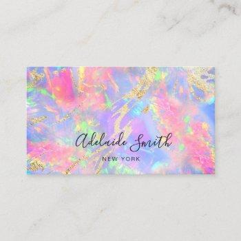 neon colors gemstone opal texture business card