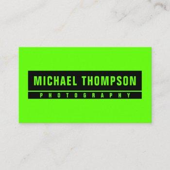 neon green standout look business card