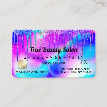neon mermaid holographic glitter drips credit business card