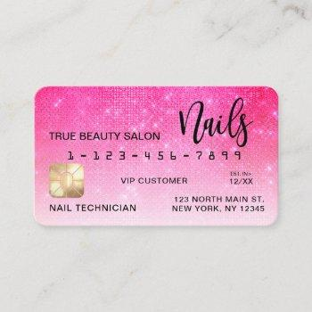 neon pink sequin glitter credit card nail tech