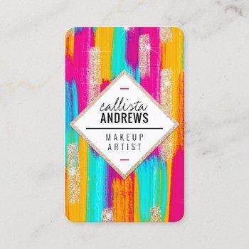 neon pink teal yellow gold glitter paint makeup business card