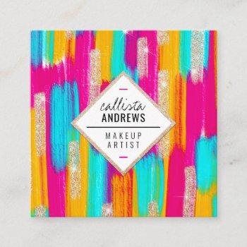neon pink teal yellow gold glitter paint makeup square business card