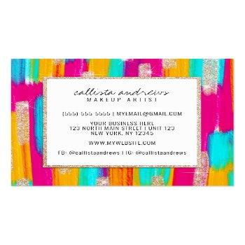 Small Neon Pink Teal Yellow Gold Glitter Paint Makeup Square Business Card Back View