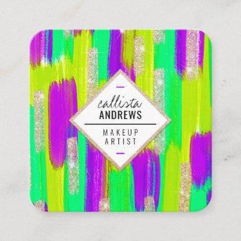 neon purple green yellow gold glitter paint makeup square business card