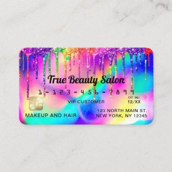 neon unicorn holographic glitter drips credit business card