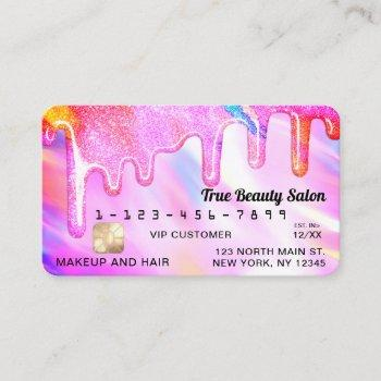 neon unicorn holographic thick glitter drip credit business card